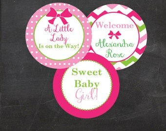 "Little Lady on the Way! Custom Printable  2"" Party Circles/Cupcake Toppers"