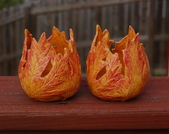 Autumn Leaves Ceramic Votive Candle Holders, Set of 2 Leaf Votive Holders, Ceramic Leaf Candle Holders, Handmade Ceramic Votive Fall Holders