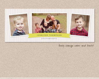 Facebook timeline cover template ribbon wood photos digital PSD FC012