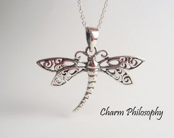 Dragonfly Necklace in 925 Sterling Silver - Dragonfly Pendant - Dragonfly Jewelry