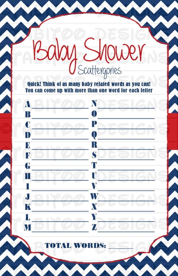 baby shower scattergories game printable