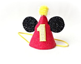 Mickey Mouse Birthday Felt Party Hat Red Yellow Black Mickey Ears Disney Hat
