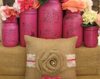 Ring Bearer Pillow, Bright Pink Ring Bearer Pillow, Burlap Ring Bearer Pillow, Rustic Wedding Ring Pillow, Fuschia Ring Pillow, Ring Bearer