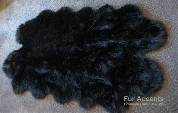 black faux fur rug fur accents black sheepskin area rug faux fur by furaccents 4669