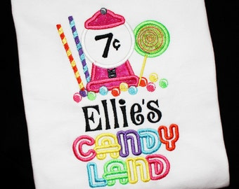 Candy Land Rainbow Birthday Party-Gumball Machine-Lollipop Custom Embroidered Applique Personalized Shirt or Bodysuit-For ANY Age