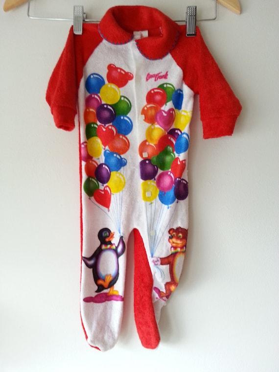 Lisa Frank Onesie 18 Months Red W Balloons Penguin Bear