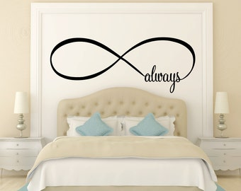 Always Infinity Symbol Bedroom Wall Decal Love Bedroom Decor Home Decor Infinity Loop Wall Quote Vinyl Lettering