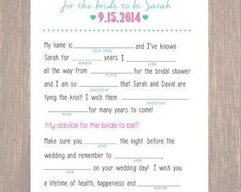 Bridal Shower Mad Lib, Bridal Shower, Bridal Shower Game, Wedding Advice, Mad Lib