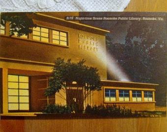 Vintage Postcard, Roanoke Public Library, Virginia - 1950s Linen Paper Ephemera