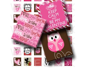 Happy Valentines - Digital Collage Sheet   - .75 x .83 Scrabble Size - INSTANT DOWNLOAD