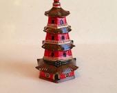 Chinoiserie Pagoda Jewelry Trinket Box Gold Orange Brown Pill Box with Hinge Porcelain Ceramic