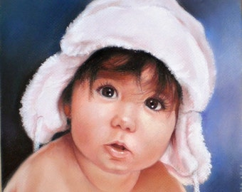 "Custom portrait painting from your photo soft pastel 10"" x 12""(25 x 30 cm)"