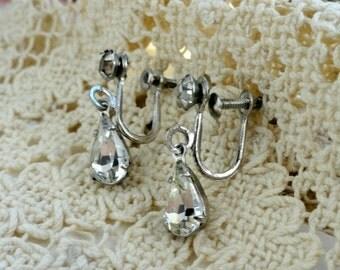 Vintage Rhinestone Earrings, Silver Tone, Teardrop, Dangle, Costume Jewelry