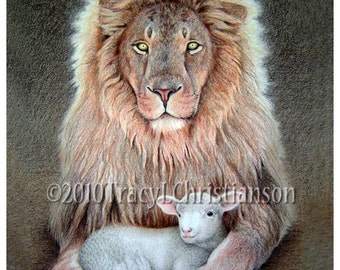 The Lion and Lamb Art Print Free Shipping #4309