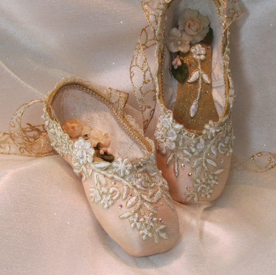Crystal and gold trimmed pointe shoes ooak sugarplum fairy for Ballet shoes decoration