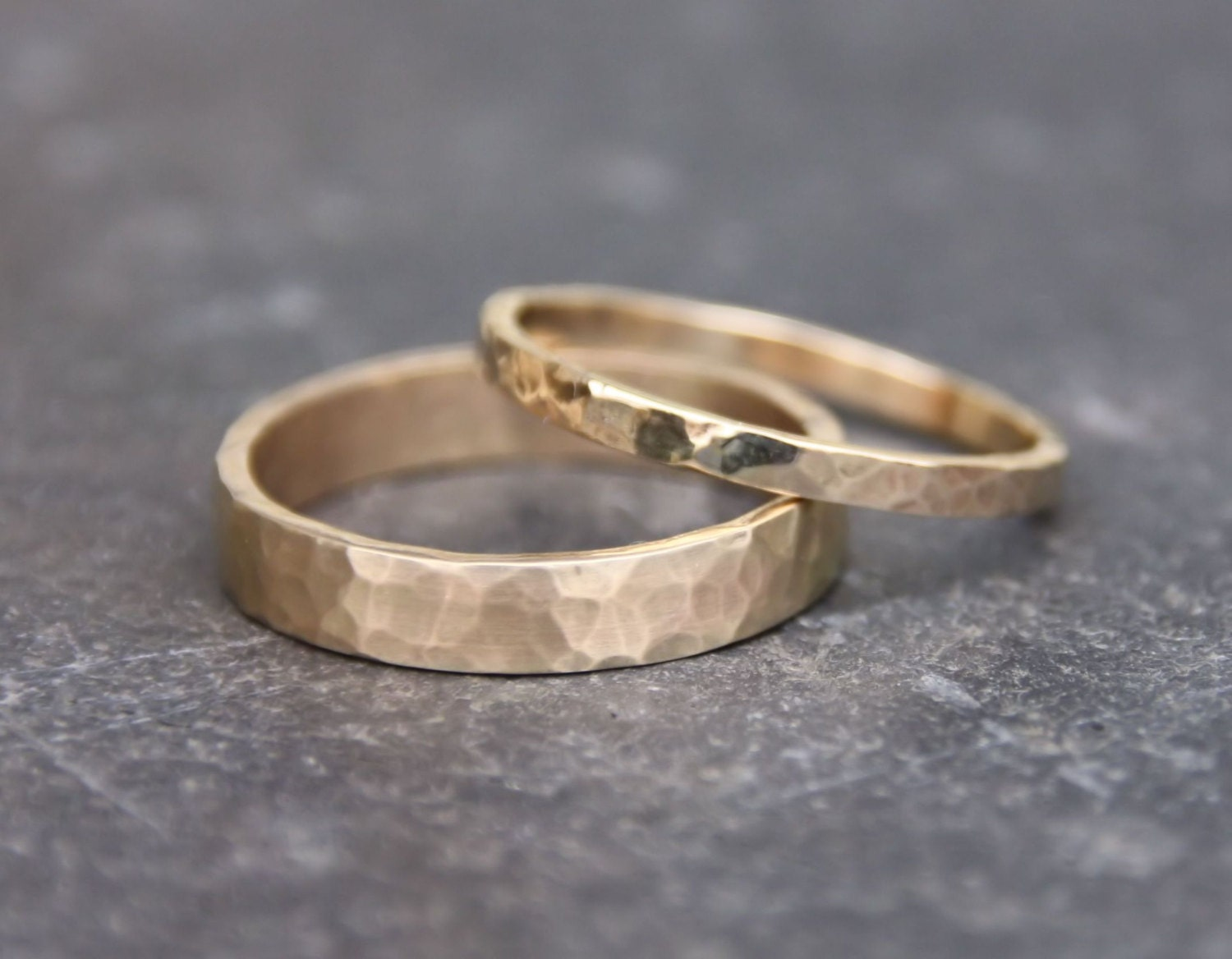 Hammered Gold Wedding Rings // 14k Gold Ring by TorchfireStudio
