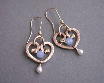 Heart earrings, small dangle heart earrings, brass earrings handmade, metal jewelry, wire heart jewelry