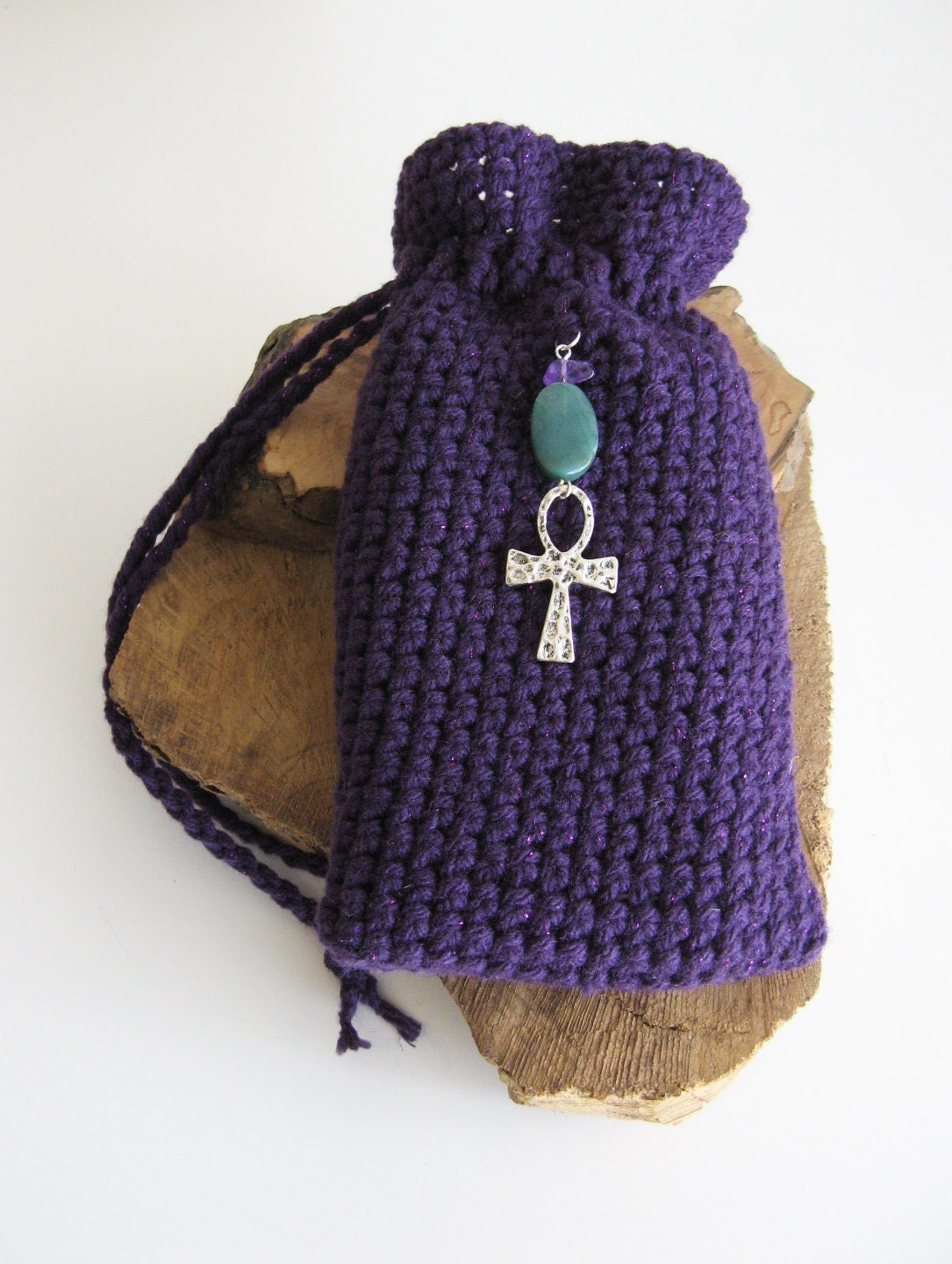 Tarot Bags Tarot Cards Cloths More: Egyptian Ankh Tarot Bag Hand Crochet Purple Tarot Bag Green