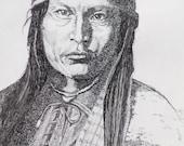 Native American Chirachaua Apache Chief Naiches,8x10  Pen and Ink print