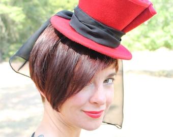 Custom Order: Vintage 1940s-Style Red Felt Tilt Hat with Black Chiffon Drape