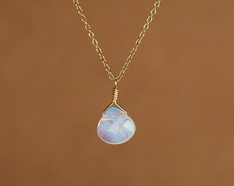 Moonstone necklace - opalite necklace - rainbow opalite - a faceted opalite wire wrapped onto a 14k gold vermeil or sterling silver chain