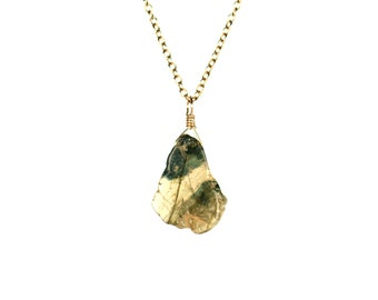 Tourmaline necklace - moss green tourmaline necklace - healing crystal necklace - a wire wrapped green tourmaline on 14k gold vermeil chain