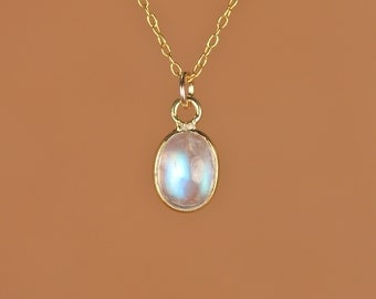 Rainbow moonstone necklace - moonstone necklace - blue flash - crystal - unicorn tear - a polished moonstone on a 14k gold vermeil chain
