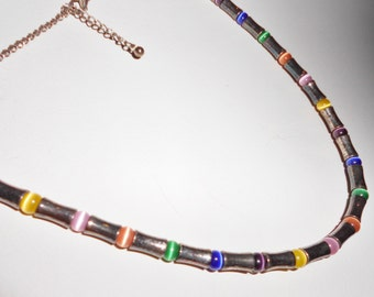 Vintage necklace a Murano glass beach hippie necklace 1980s jewelry