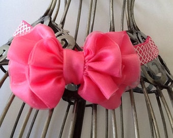 Hot pink and white quatrefoil headband, pink headband, girls headband, hair bow, bow headband, baby headband, hot pink hair accessory
