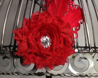Red hair clip, red shabby flower and red feather hair accessory with super sparkly rhinestone center, red hair flower, red hair accessory