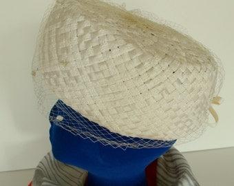 Vintage Ladys Ivory Straw Hat - Union Made