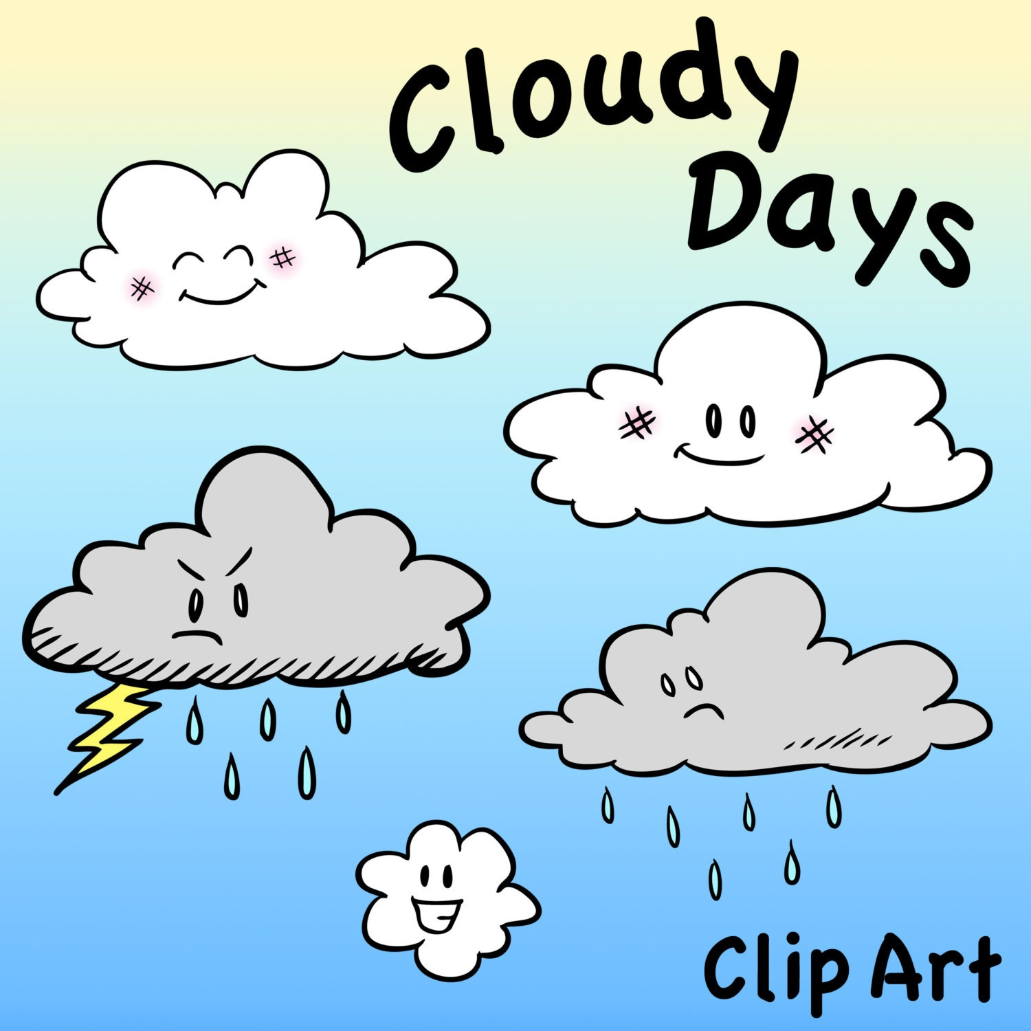 Cloud Characters Clip Art Cloudy Days Clipart Digital by ...