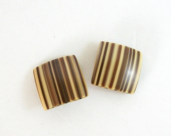 Ombre Stripe Earrings - Vintage Clip On Earrings - Geometric Jewelry - Large Square Earrings - Spring Fashion Accessories - Neutral Fashion