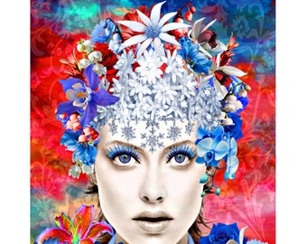 Blue Eyes Queen, digital print, photomontage, modern art, contemporary, abstract portrait, fine art print, contemporary, wall art, portrait