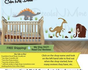 Kids Dinosaur Decals, Dinosaur Wall Decals, FULL Mammoth (FULL_Stego76n59_Mm62_D3stock) DINO MML