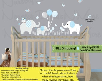 Elephant Wall Decal Holding Balloons, Elephant Stickers, Elephant Nursery  Art (Elephants U0026 Balloons Part 34