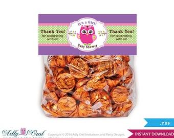 Girl  Owl Treat Goodie bag Toppers Printable for Baby Girl  Shower or Birthday DIY Green Purple, Polka - ao05bspg4