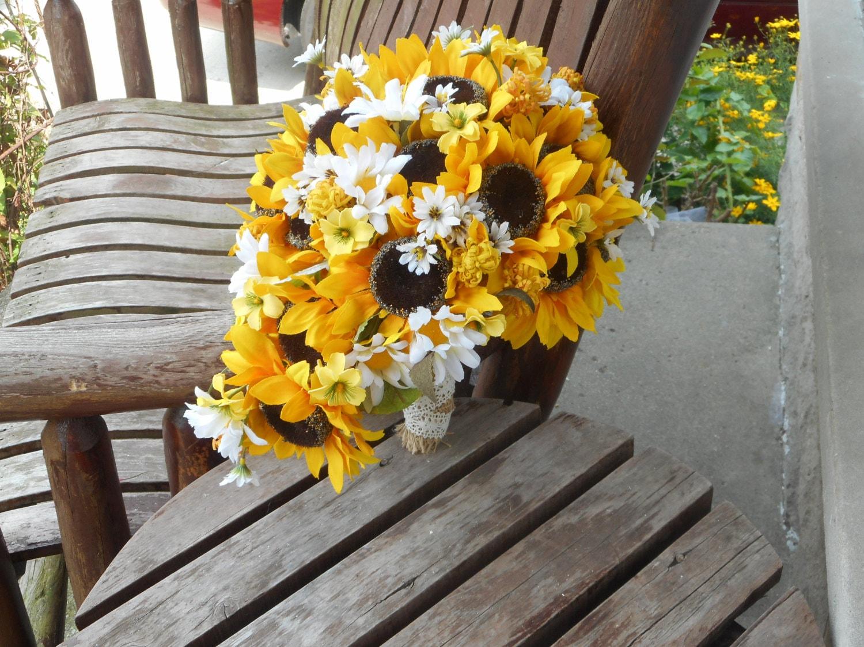 Cascading Sunflower Silk Bridal Bouquet / Sunflower Wedding