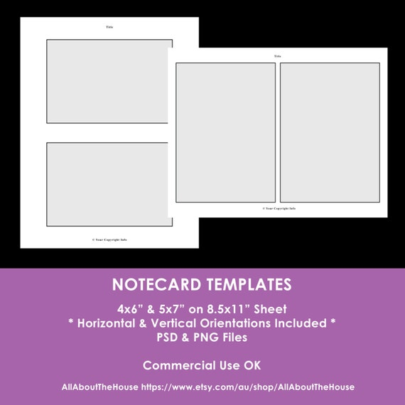 Notecard photoshop templates 4 x 6 inch 5 x 7 inch for 5 by 7 notecard template
