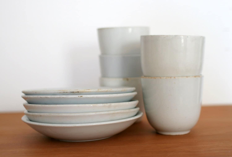 Antique ironstone cup and saucer lot rare no handle mug and - Handleless coffee mugs ...