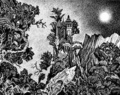 Conversations In The Moonlit Night – Original Drawing - Black Ink, Paper