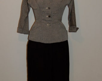 A very special classic R & K originals grey fitted 1950s jacket flecked with black and white through out