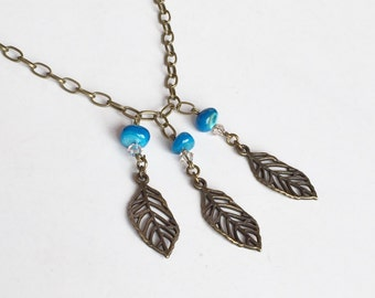 Antique Bronze Leaf Blue Bead Necklace, Rustic Bohemian Wedding Necklace Bridesmaids Gift, Everyday Necklace N84