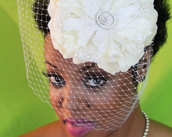 "Birdcage Veil with Large silk and lace flower and pearl detail.  On comb, no arranging required! ""Brittany"""