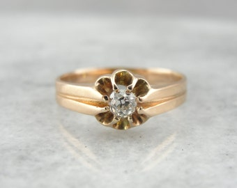 Old Mine Cut Diamond in a Lovely Antique Victorian Belcher Ring, P6XPFX-N
