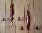 2 Pair - Mid Century MODERN WALL SCONCES Wall Hangings - Teak Wood & Brass - Large Candle Holders - Eames Danish Style
