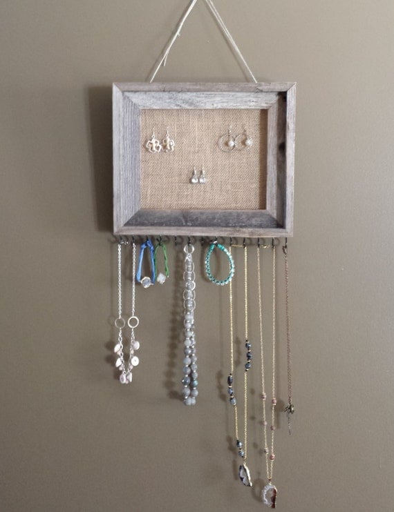 Barnwood and Burlap Jewelry Organizer Hanging by LivelyHappenings