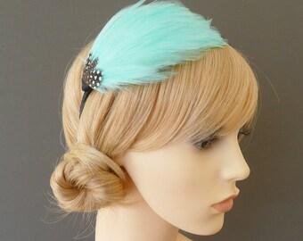 Aqua Blue Feather Headband Black Fascinator Bridesmaids Hair Accessory Handmade Black White Wedding Headpiece 'Gwen'
