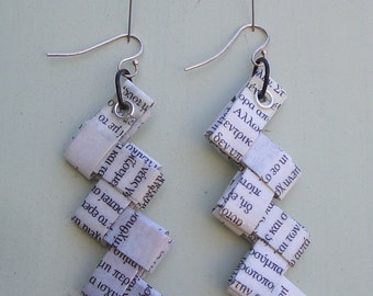origami paper earrings with the paper from a greek magazine