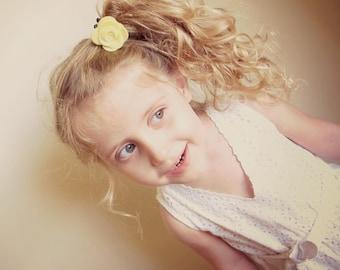 Yellow Ponytail Holder/ Felt Flower Ponytail/ Girls Ponytail/ Yellow Flower Ponytail Holder/ Flower Ponytail Holder/ Yellow Elastics